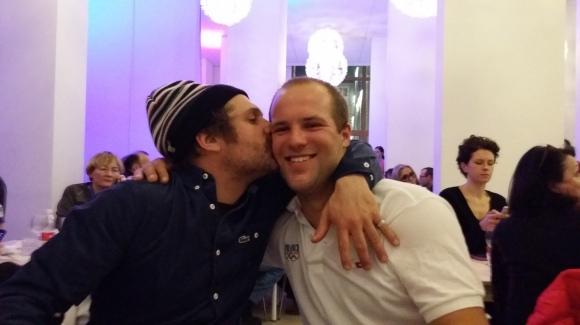 Enak Gavaggio (précurseur du skicross en France) et Jonas au village olympique