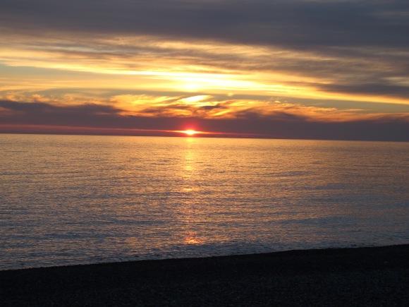 Coucher de soleil sur la mer noire