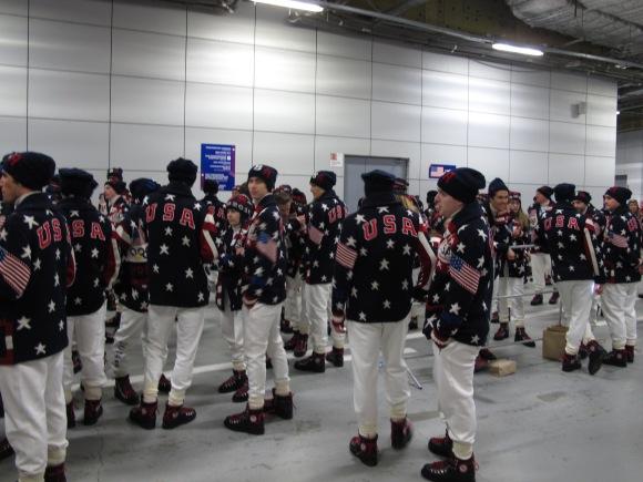 La classe des américains pendant la cérémonie d'ouverture